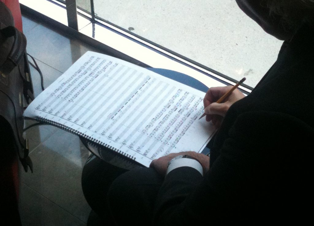 deLise makes last minute changes on score for Miss Patti 11-Sept-2011