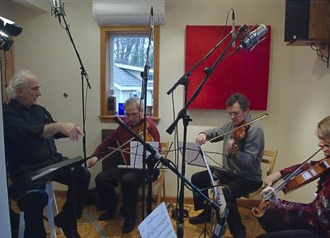 String quartet recording at Bocage Music Publishing, LLC's Black Walnut Studios