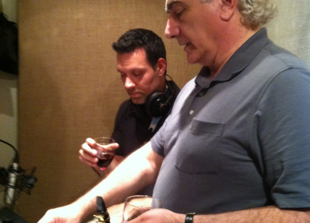 Carl Cox and deLise discuss arrangement during a recording session.