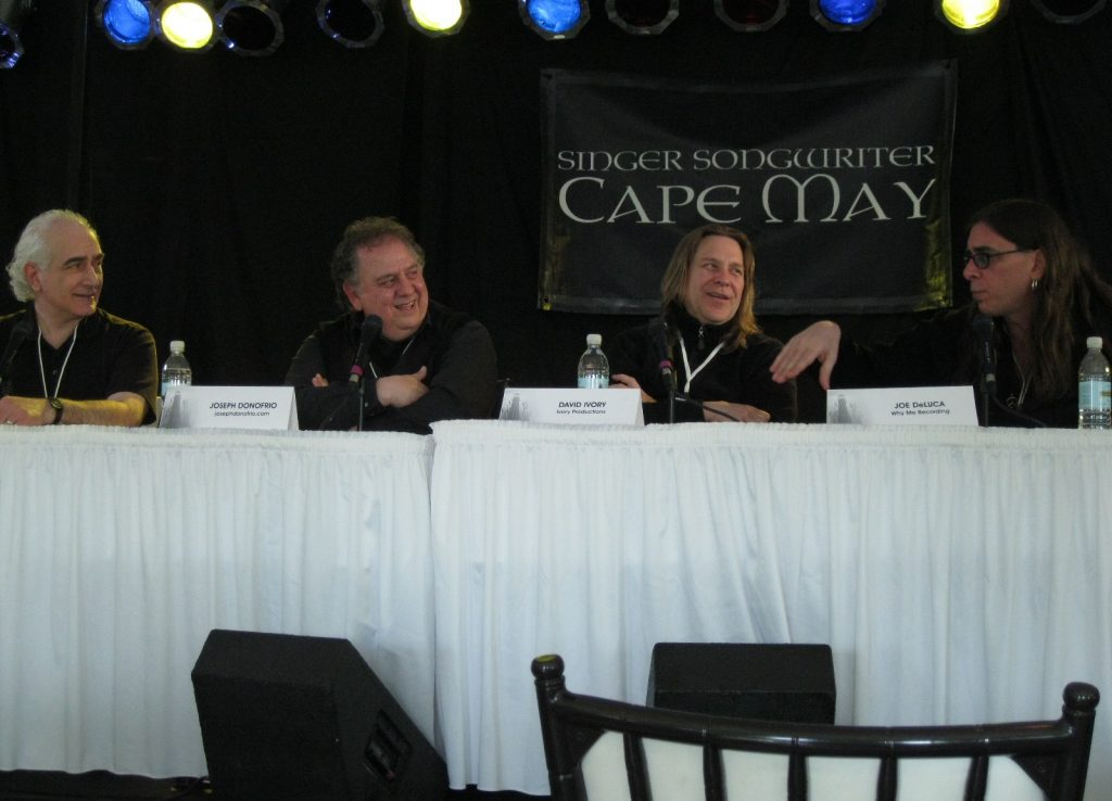 """""""Producer's Panel"""" at Singer Songwriter Cape May conference - deLise, Donofrio, Ivory, DeLucca"""